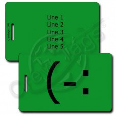 LEFT HANDED SMILE EMOTICON PERSONALIZED LUGGAGE TAG (-: GREEN