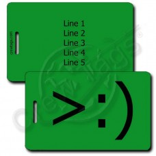 LITTLE DEVIL PERSONALIZED EMOTICON LUGGAGE TAG >:) GREEN