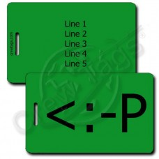 PARTY EMOTICON PERSONALIZED LUGGAGE TAG <:-P GREEN