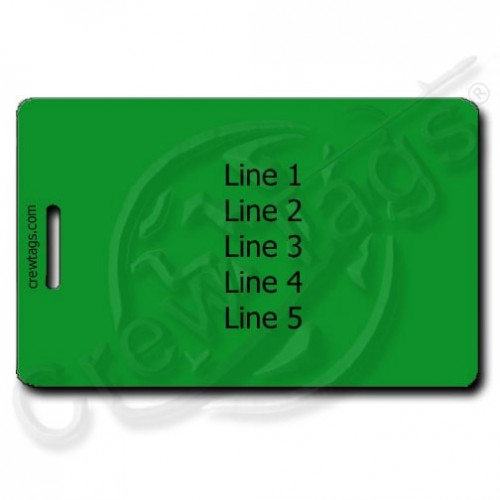 GREEN LUGGAGE TAGS WITH UP TO 5 LINES OF PERSONALIZED TEXT