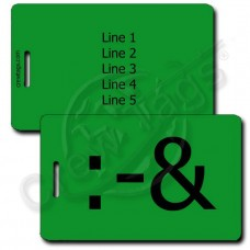PUKE EMOTICON PERSONALIZED LUGGAGE TAG :-& GREEN