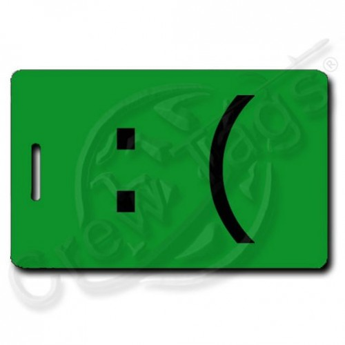 SAD EMOTICON PERSONALIZED LUGGAGE TAG :( GREEN