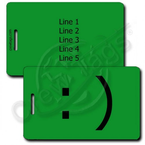 SMILEY EMOTICON PERSONALIZED LUGGAGE TAG :) GREEN