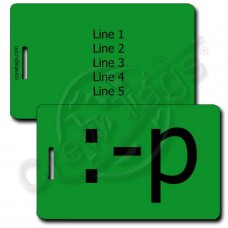 GREEN EMOTICON PERSONALIZED LUGGAGE TAGS