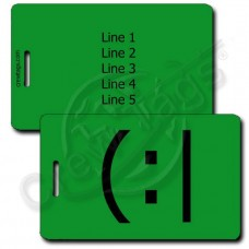 TIRED EMOTICON PERSONALIZED LUGGAGE TAG (:| GREEN