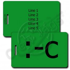 VERY UNHAPPY EMOTICON PERSONALIZED LUGGAGE TAG :-C GREEN