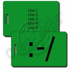 WRY EMOTICON PERSONALIZED LUGGAGE TAG :-/ GREEN