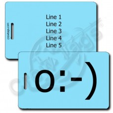 ANGEL EMOTICON PERSONALIZED LUGGAGE TAG o:-) LIGHT BLUE