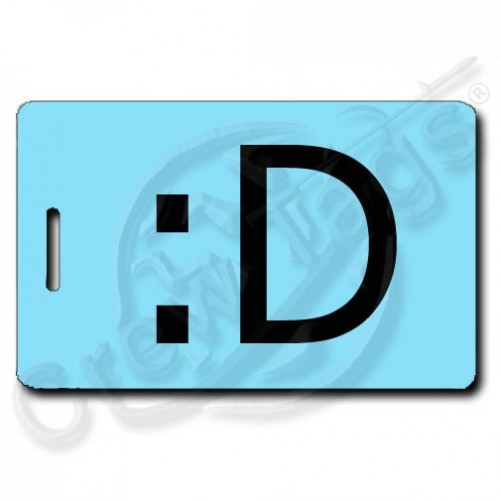 BIG GRIN PERSONALIZED EMOTICON LUGGAGE TAG :D LIGHT BLUE