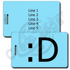 BIG GRIN EMOTICON LUGGAGE TAG :D LIGHT BLUE