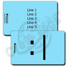 BORED EMOTICON PERSONALIZED LUGGAGE TAG  :| LIGHT BLUE