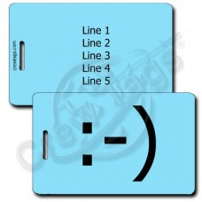 CLASSIC SMILEY EMOTICON LUGGAGE TAG :-) LIGHT BLUE