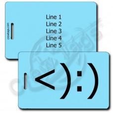COWBOY EMOTICON LUGGAGE TAG <):) LIGHT BLUE