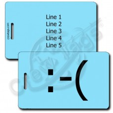 FROWN EMOTICON LUGGAGE TAG :-( LIGHT BLUE