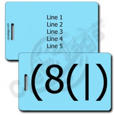 HOMER EMOTICON LUGGAGE TAG (8(|) LIGHT BLUE