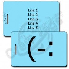 LEFT HANDED SMILE EMOTICON LUGGAGE TAG (-: LIGHT BLUE