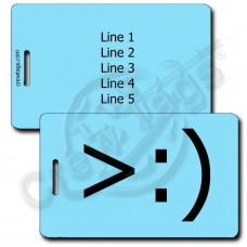 LITTLE DEVIL EMOTICON LUGGAGE TAG >:) LIGHT BLUE