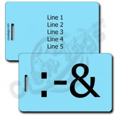 PUKE EMOTICON LUGGAGE TAG :-& LIGHT BLUE