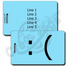 SAD EMOTICON PERSONALIZED LUGGAGE TAG :( LIGHT BLUE