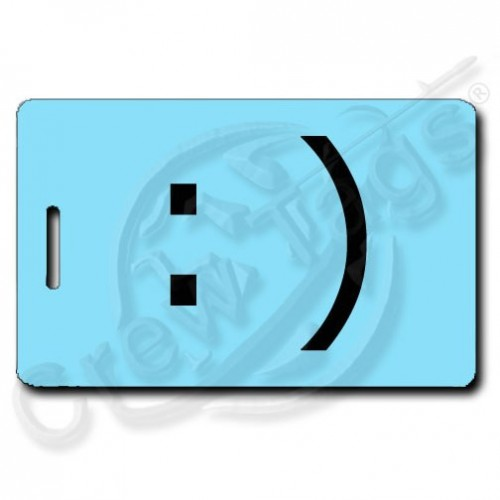 SMILEY EMOTICON PERSONALIZED LUGGAGE TAG :) LIGHT BLUE