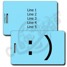 SMILEY EMOTICON LUGGAGE TAG :) LIGHT BLUE