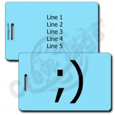 WINK EMOTICON LUGGAGE TAG ;) LIGHT BLUE