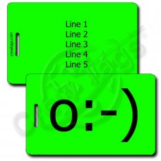 ANGEL EMOTICON PERSONALIZED LUGGAGE TAG o:-) FLUORESCENT GREEN