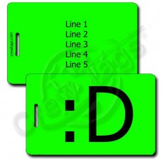 BIG GRIN EMOTICON LUGGAGE TAG :D NEON GREEN