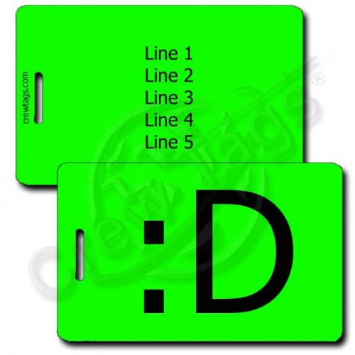 BIG GRIN EMOTICON PERSONALIZED LUGGAGE TAG :D FLUORESCENT GREEN