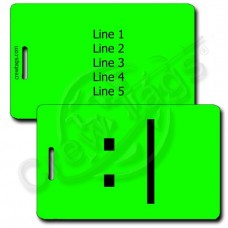BORED EMOTICON PERSONALIZED LUGGAGE TAG  :| FLUORESCENT GREEN