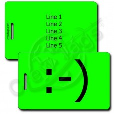 CLASSIC SMILEY PERSONALIZED EMOTICON LUGGAGE TAG :-) FLUORESCENT GREEN