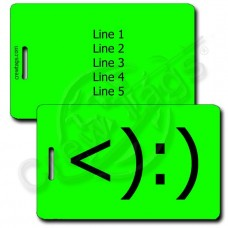 COWBOY EMOTICON PERSONALIZED LUGGAGE TAGS <):) FLUORESCENT GREEN