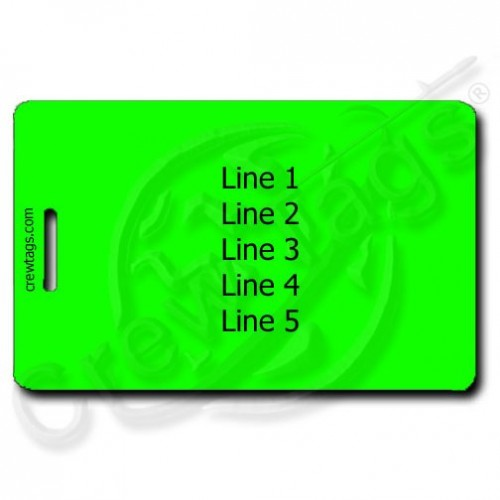 FLUORESCENT GREEN PERSONALIZED LUGGAGE TAGS