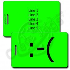 FROWN EMOTICON PERSONALIZED LUGGAGE TAG  :-(  FLUORESCENT GREEN