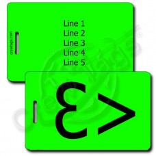 PERSONALIZED HEART EMOTICON LUGGAGE TAG <3 NEON GREEN