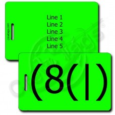 HOMER EMOTICON PERSONALIZED LUGGAGE TAG (8(|) FLUORESCENT GREEN