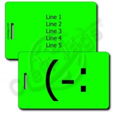 LEFT HANDED SMILE PERSONALIZED EMOTICON LUGGAGE TAG (-: FLUORESCENT GREEN