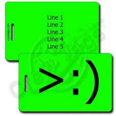 LITTLE DEVIL EMOTICON PERSONALIZED LUGGAGE TAG >:) FLUORESCENT GREEN
