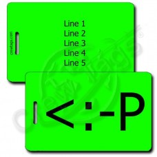 PARTY EMOTICON PERSONALIZED LUGGAGE TAG <:-P FLUORESCENT GREEN