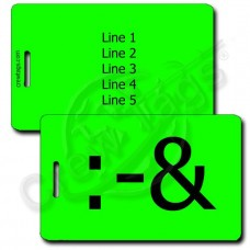 PUKE EMOTICON PERSONALIZED LUGGAGE TAG :-&  FLUORESCENT GREEN