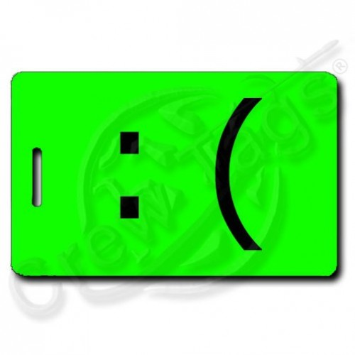 SAD EMOTICON PERSONALIZED LUGGAGE TAG :( FLUORESCENT GREEN