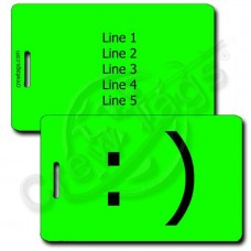 SMILEY EMOTICON PERSONALIZED LUGGAGE TAG :) FLUORESCENT GREEN