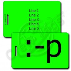 STICKING TONGUE OUT PERSONALIZED EMOTICON LUGGAGE TAG :-p FLUORESCENT GREEN