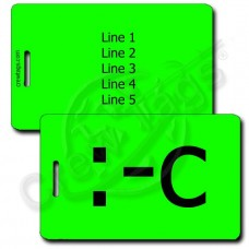 VERY UNHAPPY PERSONALIZED EMOTICON LUGGAGE TAG :-C FLUORESCENT GREEN