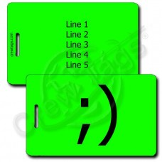 WINK EMOTICON PERSONALIZED LUGGAGE TAG ;) FLUORESCENT GREEN