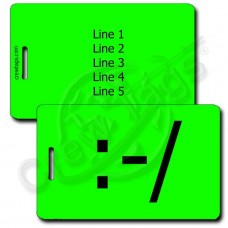 WRY EMOTICON PERSONALIZED LUGGAGE TAG :-/ FLUORESCENT GREEN