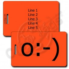 ANGEL EMOTICON CUSTOM LUGGAGE TAG o:-) FLUORESCENT ORANGE