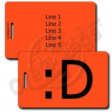 BIG GRIN EMOTICON PERSONALIZED LUGGAGE TAG :D FLUORESCENT ORANGE