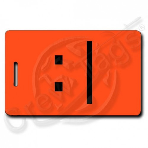 BORED EMOTICON PERSONALIZED LUGGAGE TAGS  :| FLUORESCENT ORANGE