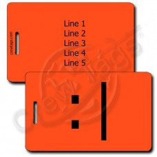 BORED EMOTICON LUGGAGE TAG :| NEON ORANGE